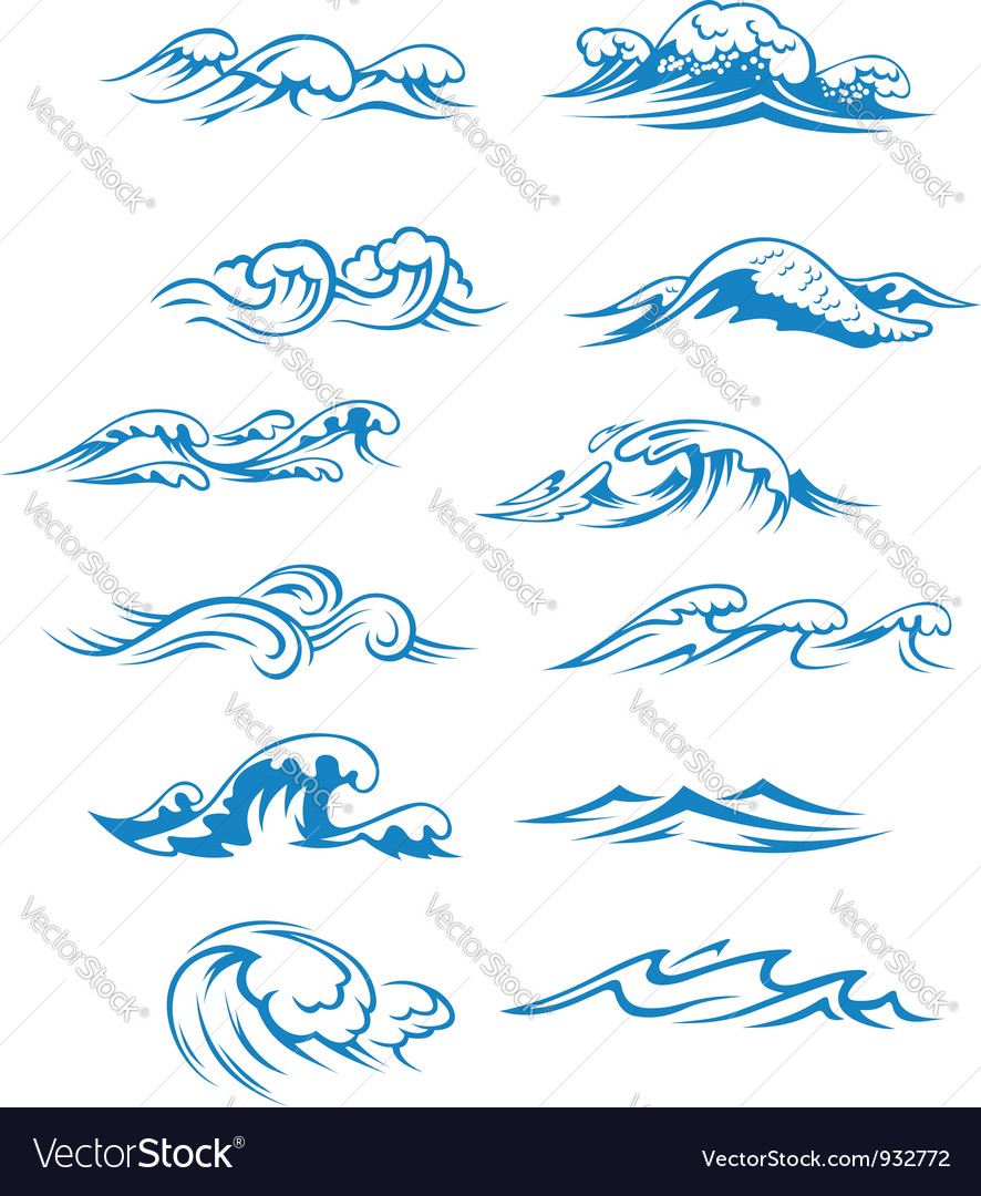 Ocean waves set isolated on white vector | Price: 1 Credit (USD $1)