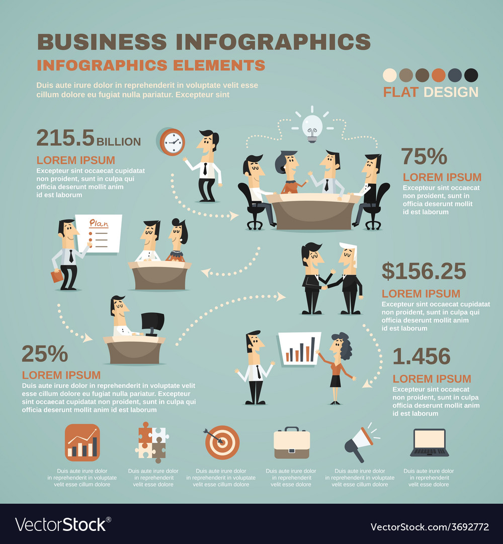 Office work infographics presentation poster vector | Price: 1 Credit (USD $1)