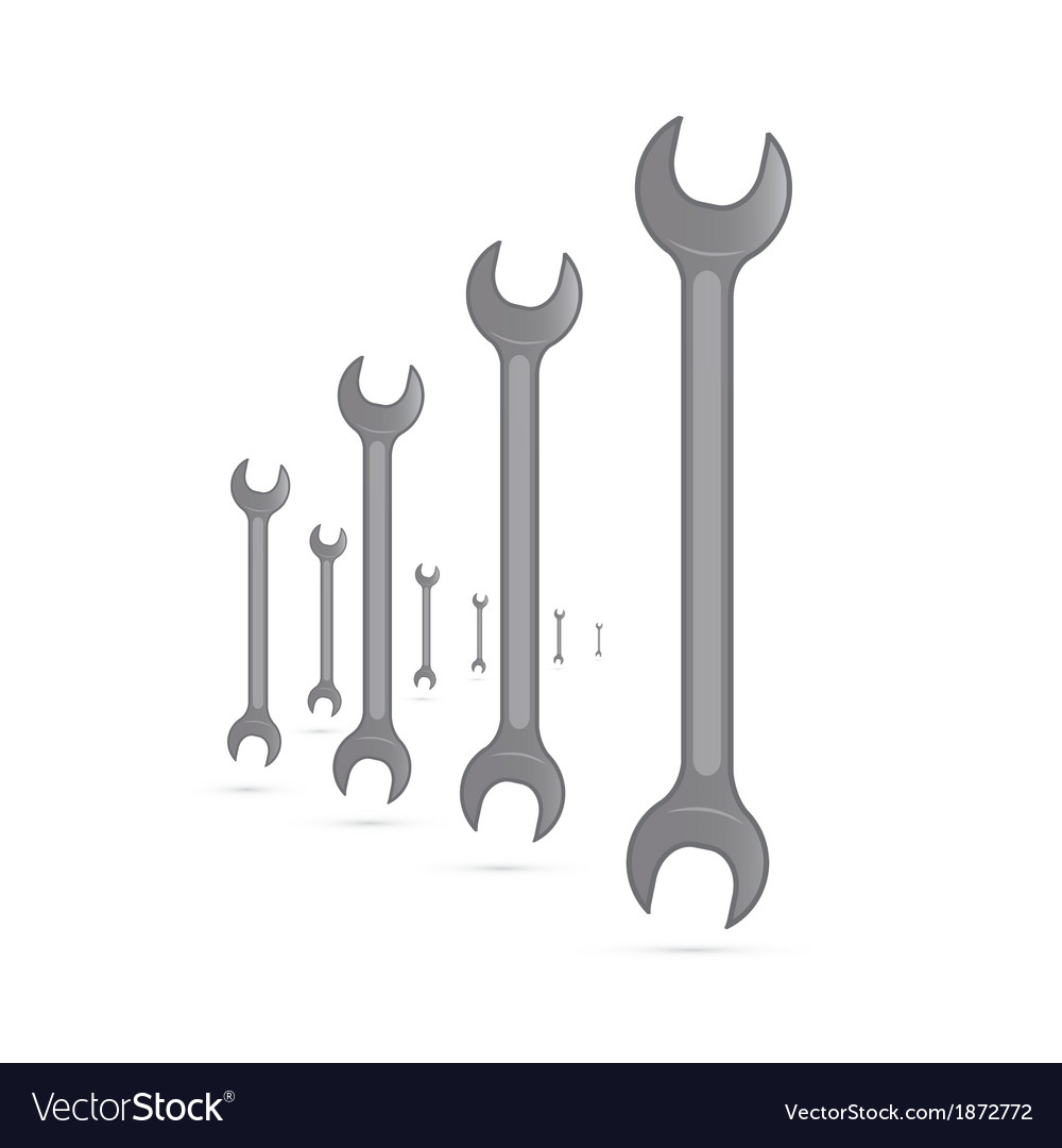 Spanners hand wrench tools isolated on white vector | Price: 1 Credit (USD $1)