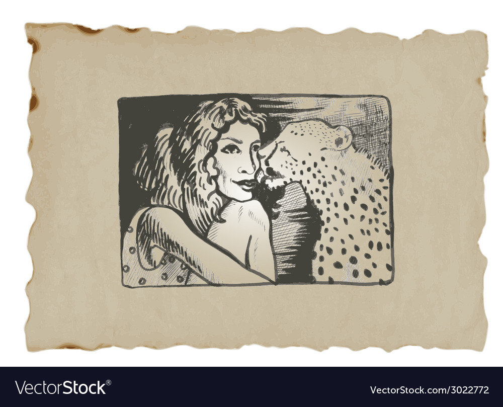Underground comix lady with leopard vector | Price: 1 Credit (USD $1)