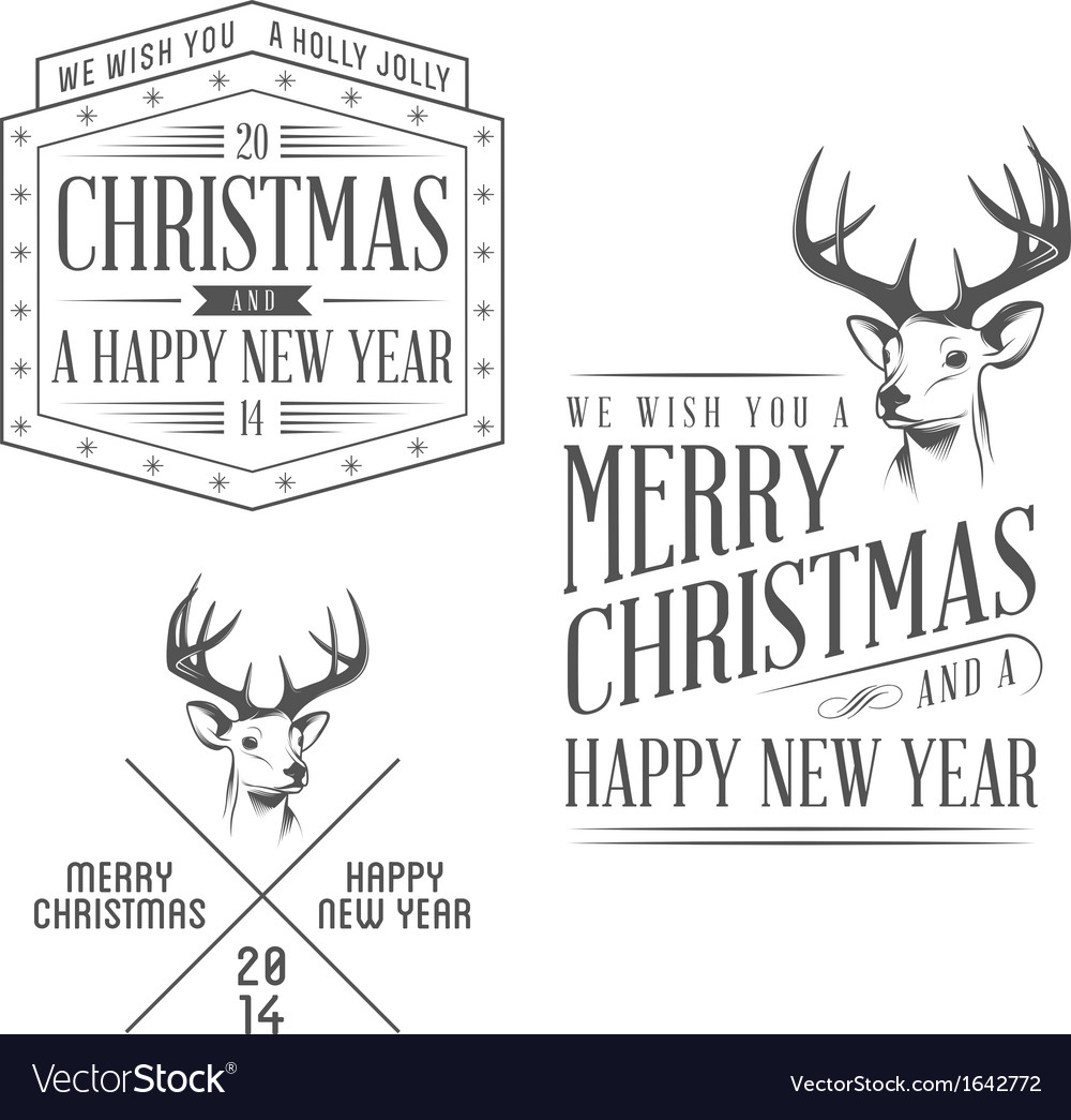 Vintage christmas design elements set vector | Price: 1 Credit (USD $1)