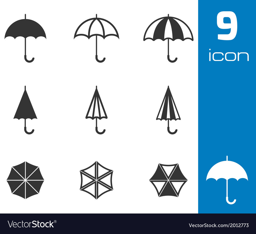 Black umbrella icons set vector | Price: 1 Credit (USD $1)
