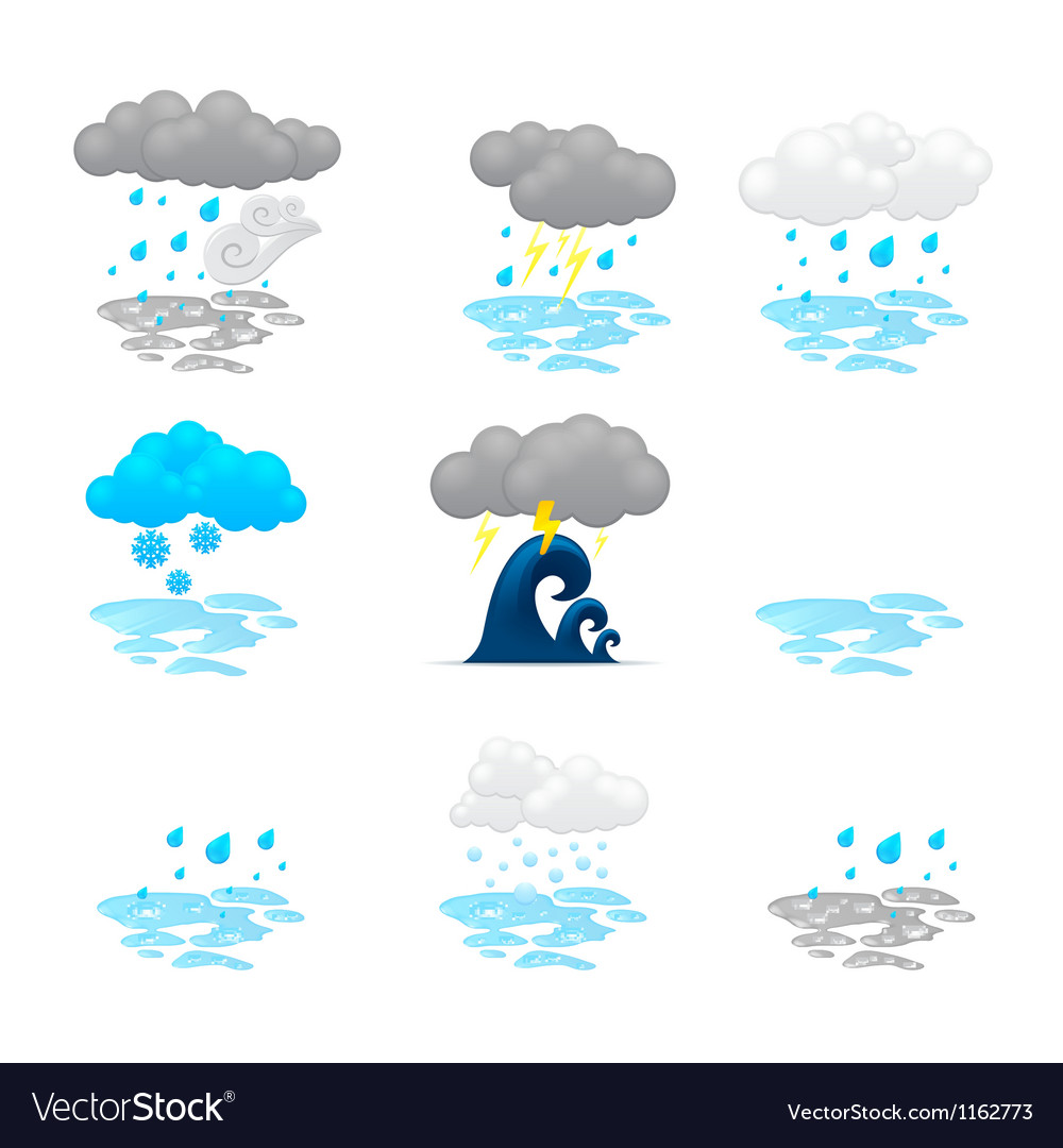 Different cloud icons set vector | Price: 1 Credit (USD $1)