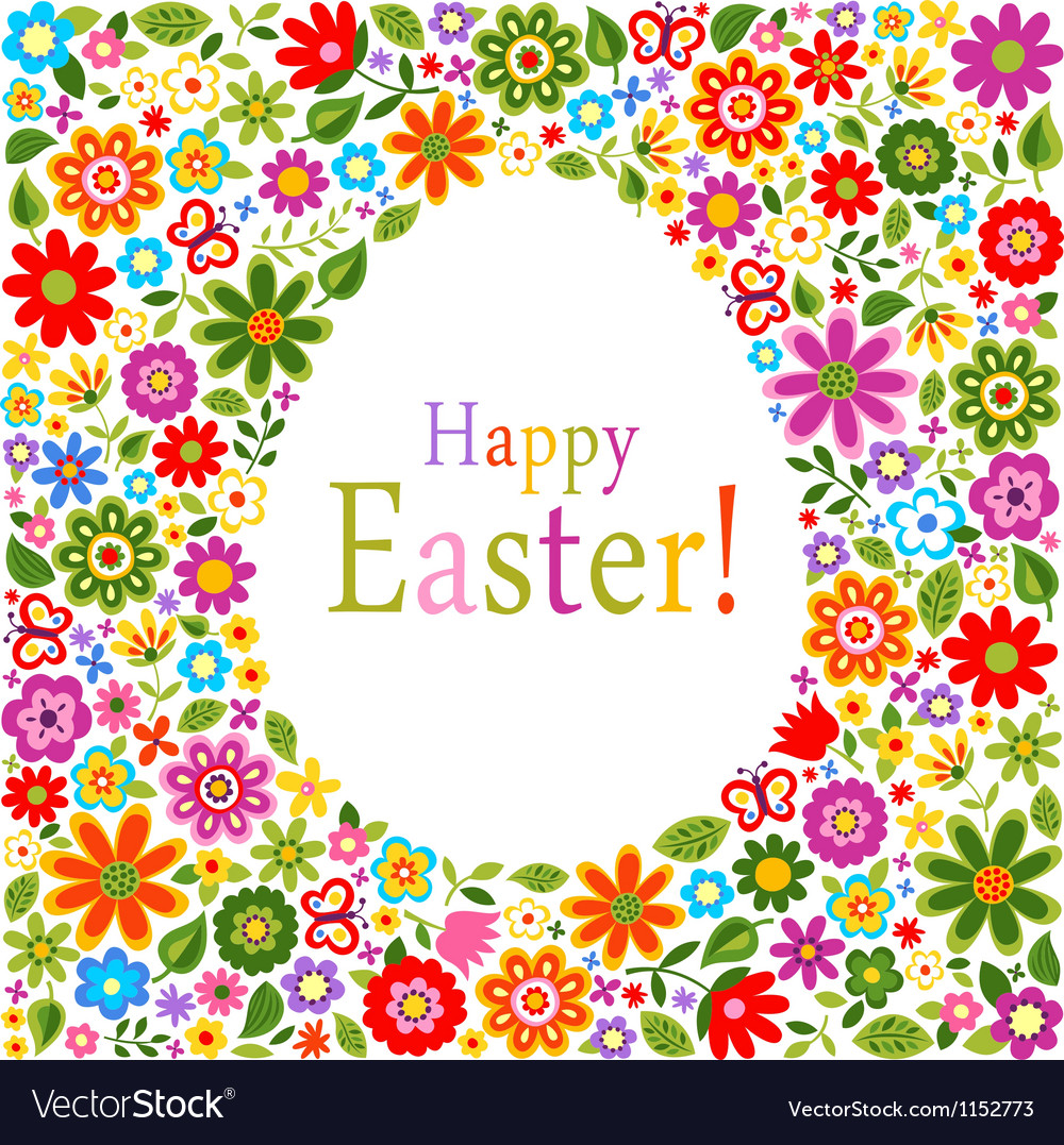 Floral card easter celebration vector | Price: 1 Credit (USD $1)