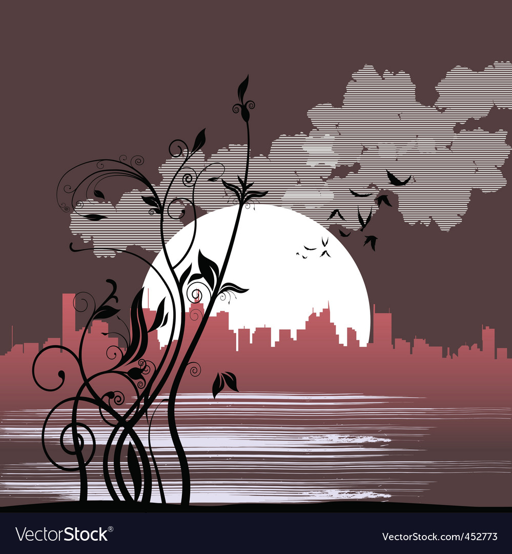 Floral city vector | Price: 1 Credit (USD $1)