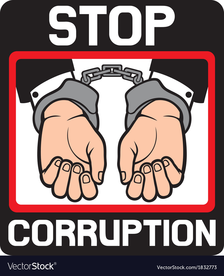 Hands in handcuffs - stop corruption sign vector | Price: 1 Credit (USD $1)