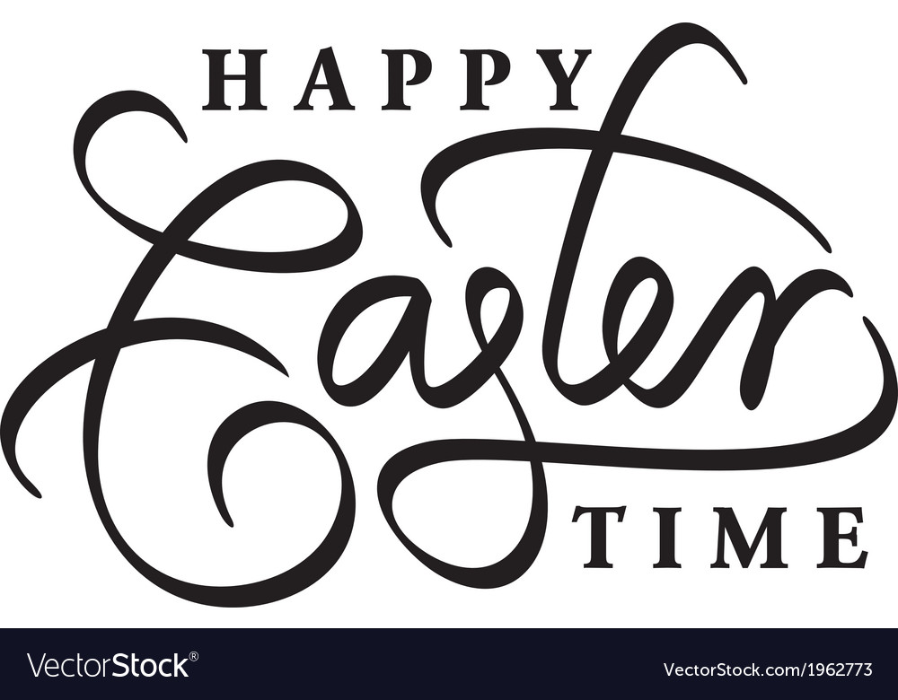 Happy easter time hand lettering vector | Price: 1 Credit (USD $1)