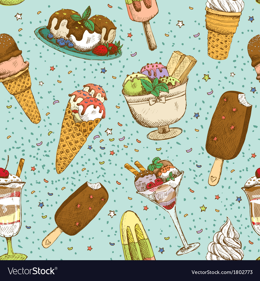 Icecream seamless background pattern vector | Price: 1 Credit (USD $1)