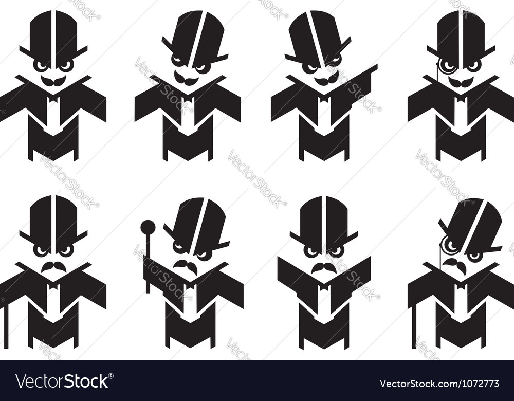 Old fashoined gent mascot humor set vector | Price: 1 Credit (USD $1)