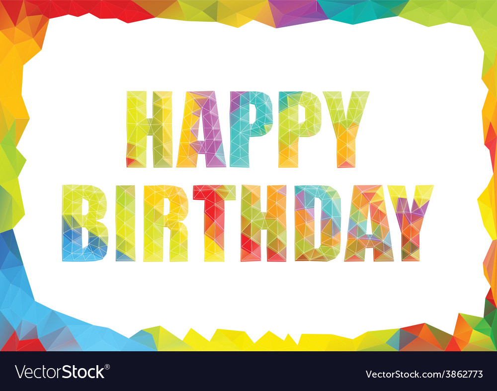 Polygon colorful birthday template vector | Price: 1 Credit (USD $1)