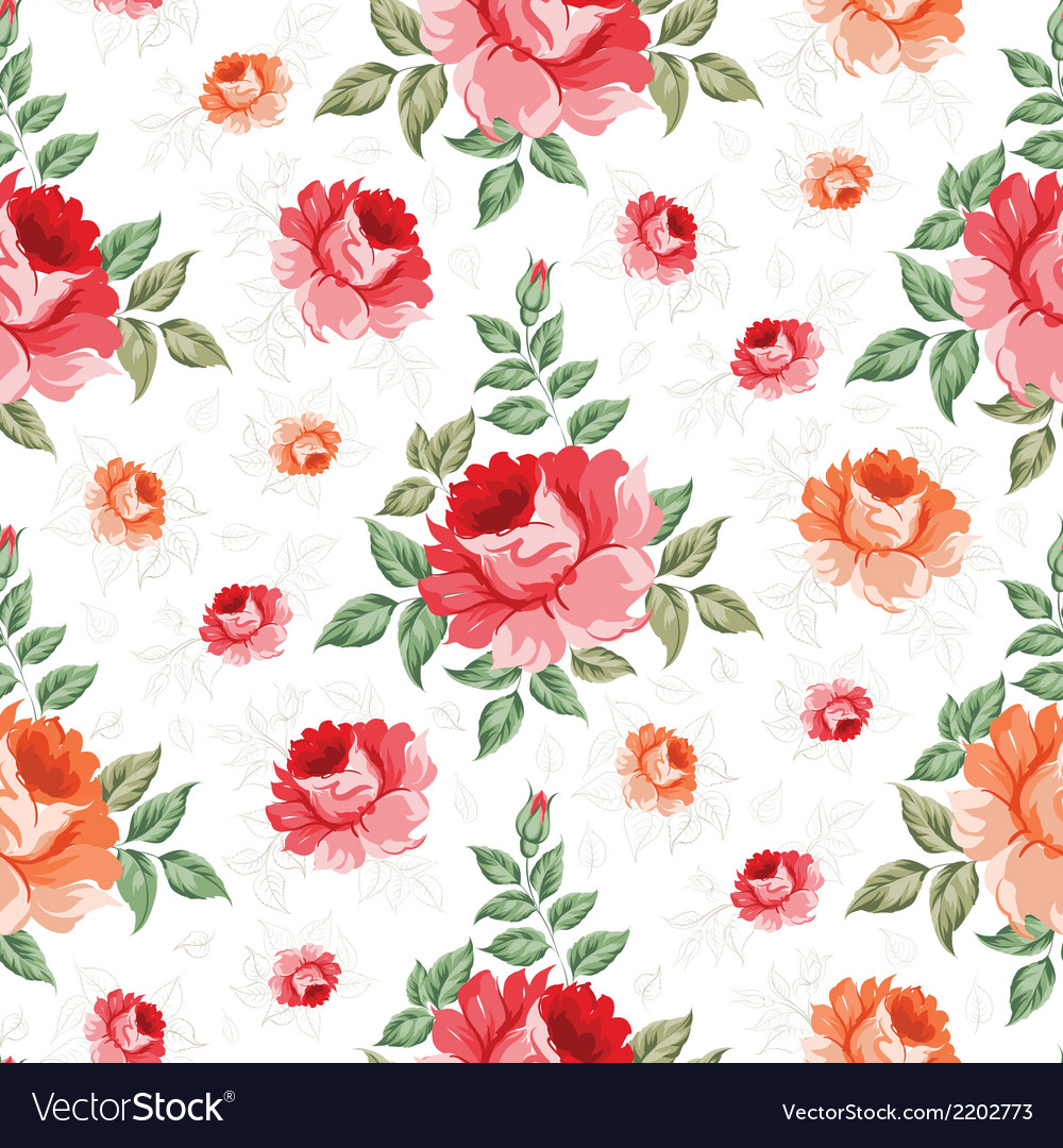 Roses floral background seamless pattern vector | Price: 1 Credit (USD $1)
