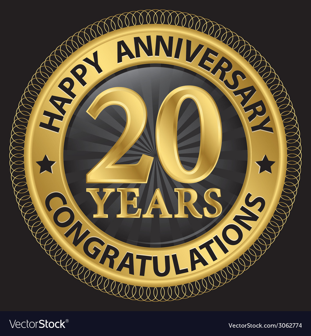 20 years happy anniversary congratulations gold vector | Price: 1 Credit (USD $1)