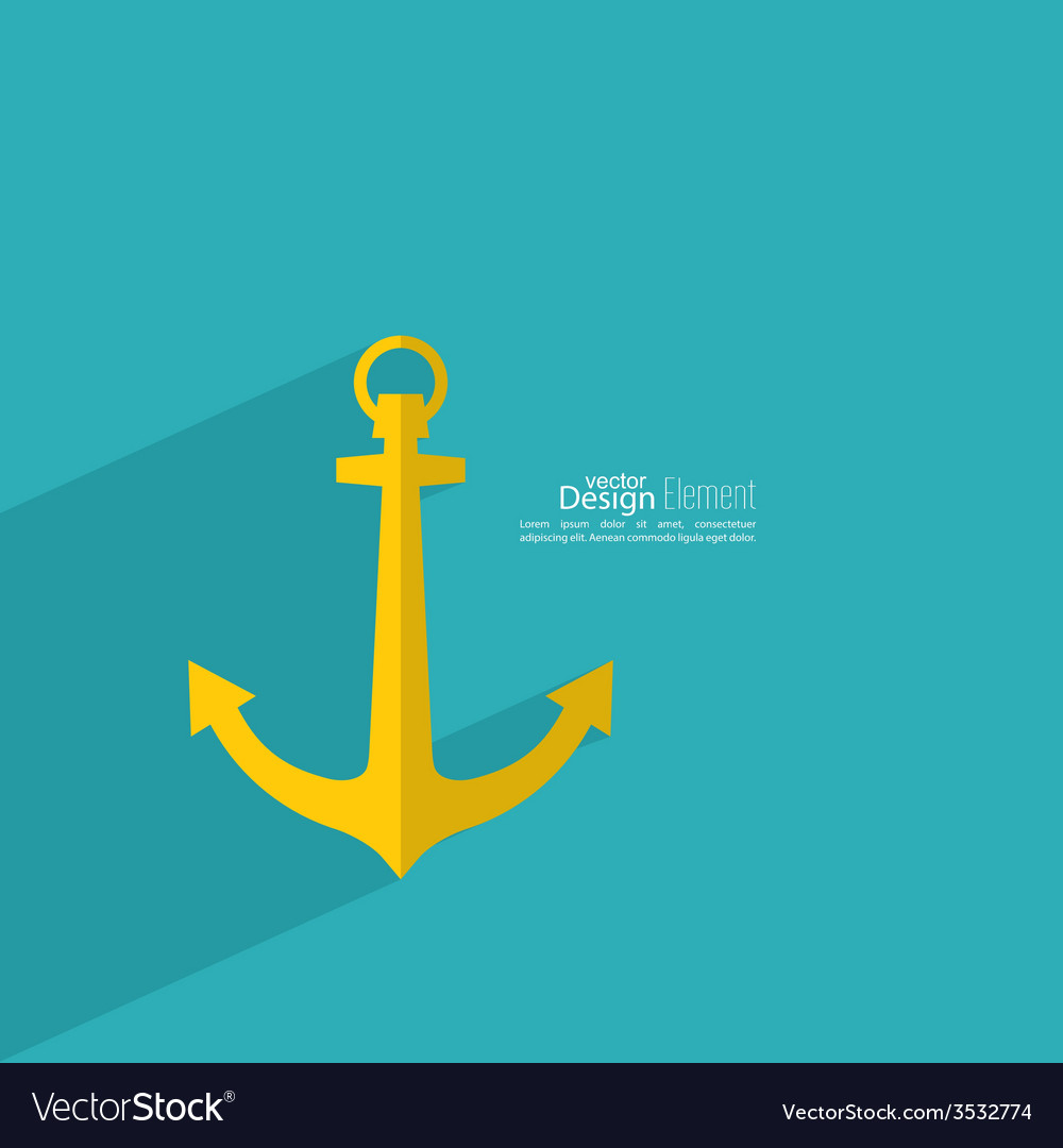 Anchor with long shadow vector | Price: 1 Credit (USD $1)