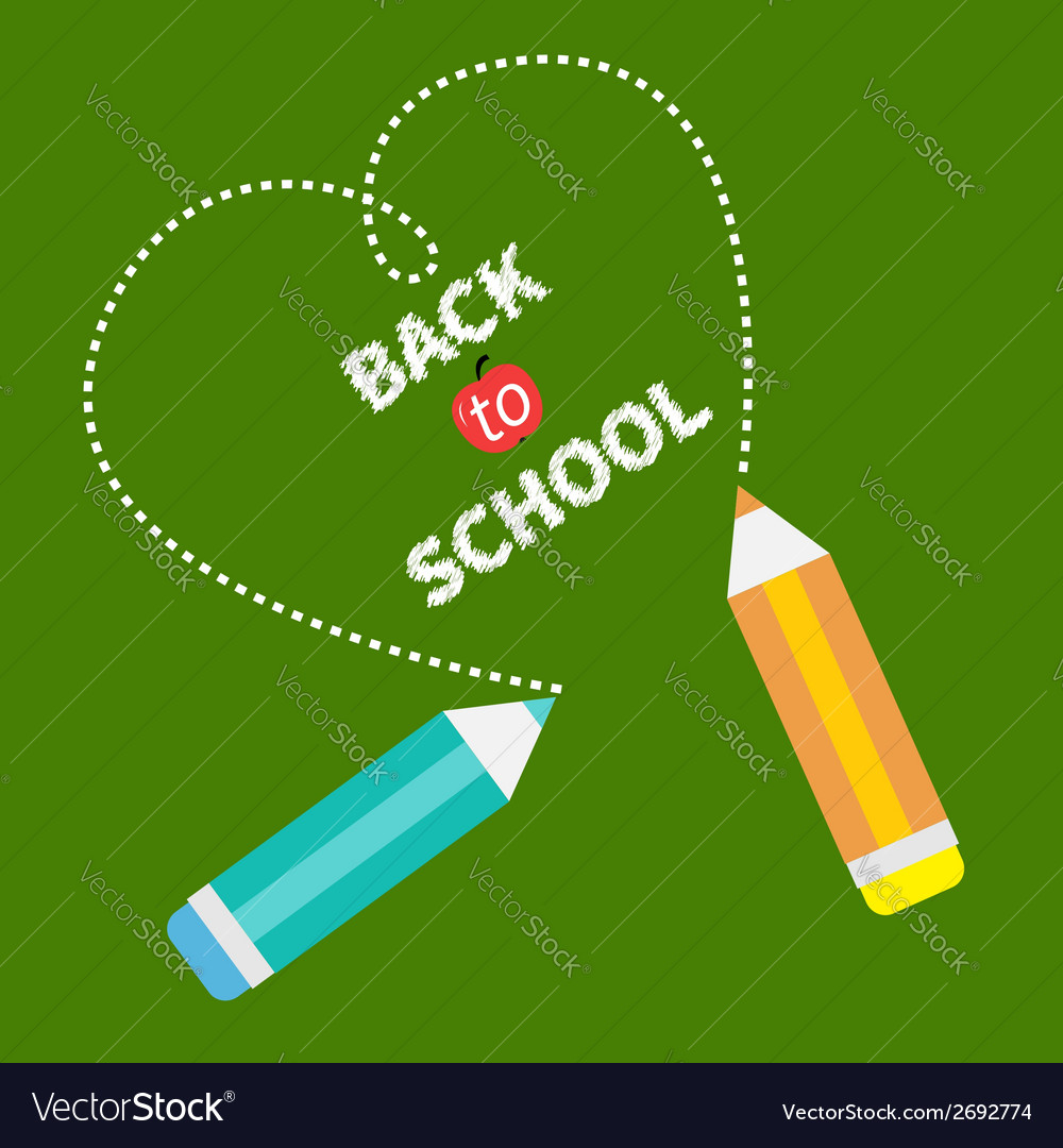 Back to school card card two pencils dash heart vector | Price: 1 Credit (USD $1)