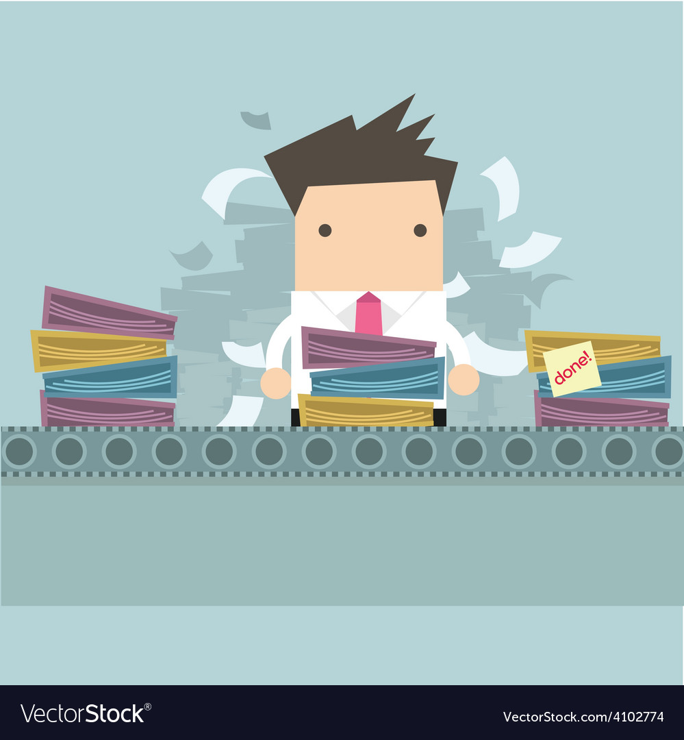 Businessman working like factory work vector | Price: 1 Credit (USD $1)