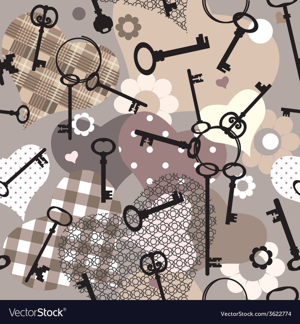 Collage with keys and hearts vector | Price: 1 Credit (USD $1)