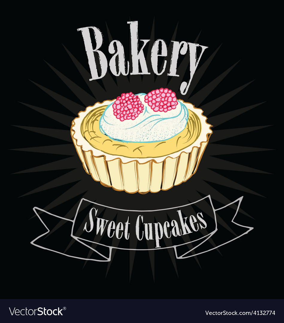 Cupcake on blackboard vector | Price: 1 Credit (USD $1)