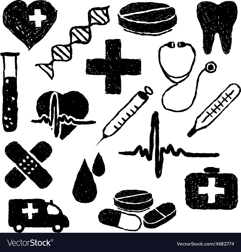 Doodle medical images vector | Price: 1 Credit (USD $1)