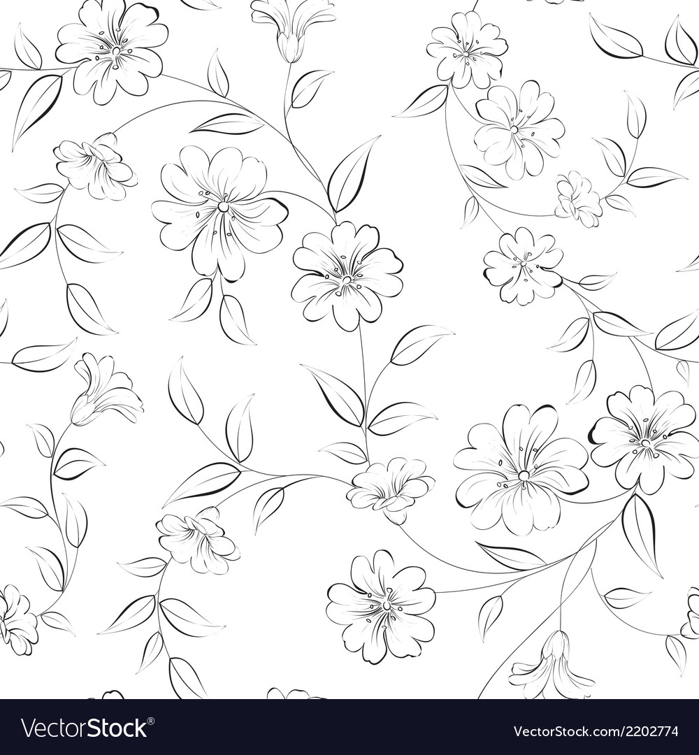 Elegant monochrome flowers fabric vector | Price: 1 Credit (USD $1)