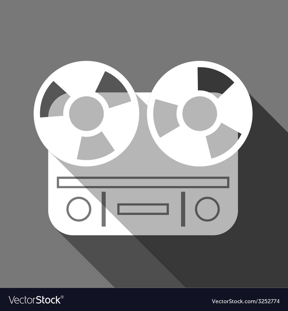 Flat long shadow reel tape recorder vector | Price: 1 Credit (USD $1)