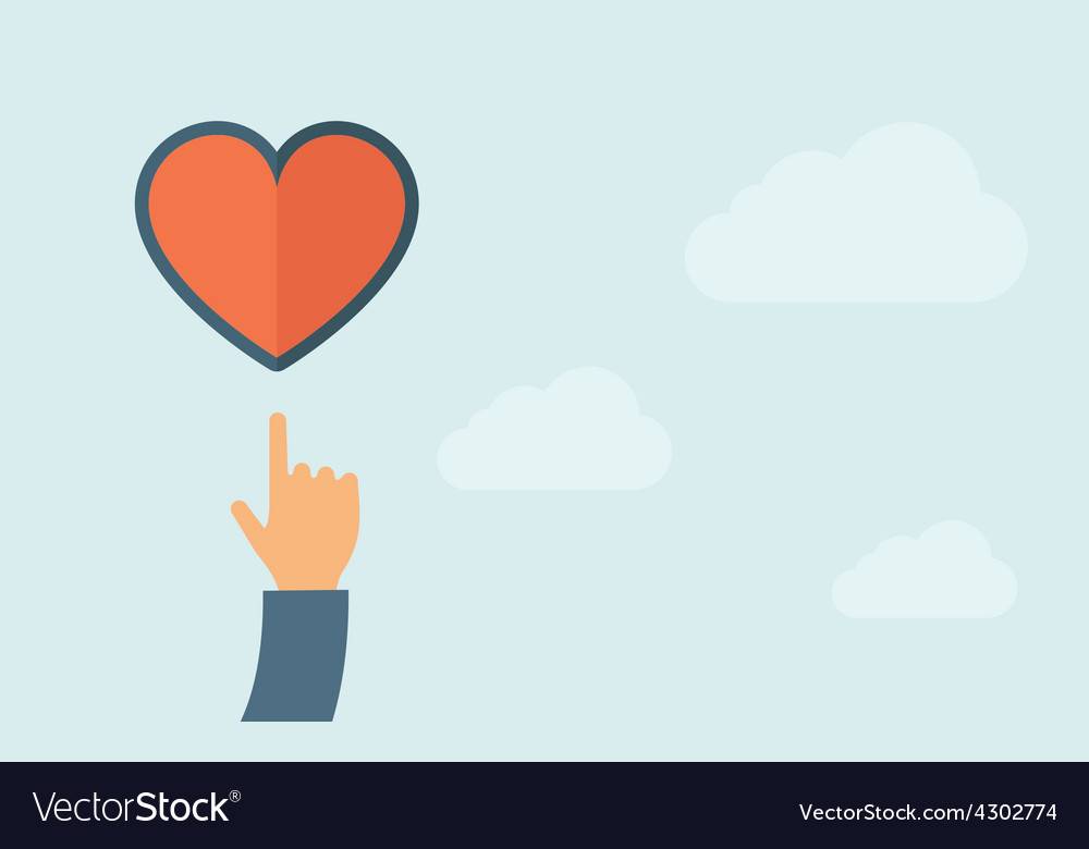 Hand pointing to heart icon vector   Price: 1 Credit (USD $1)