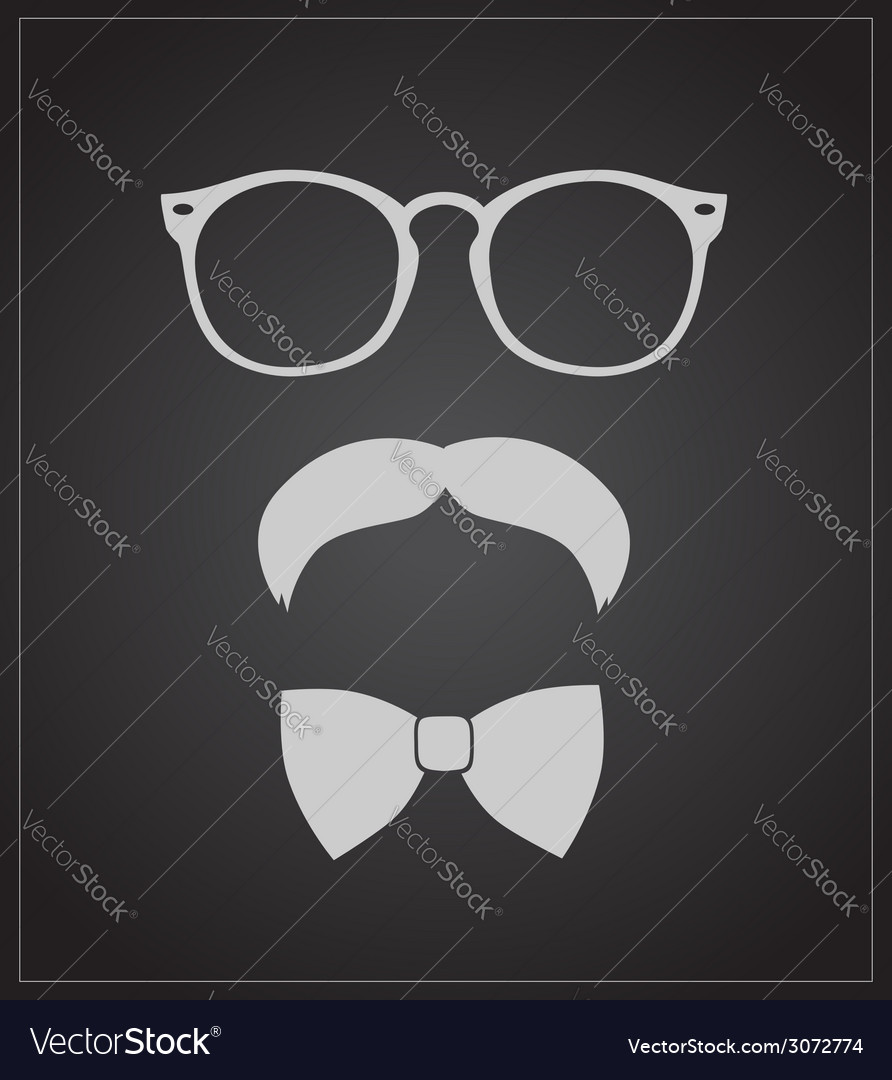 Hipster style set bowtie glasses and mustaches vector | Price: 1 Credit (USD $1)