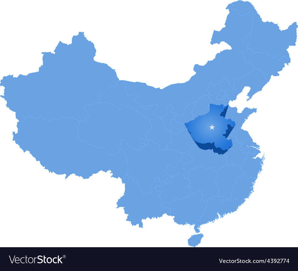 Map of peoples republic of china - henan province vector | Price: 1 Credit (USD $1)