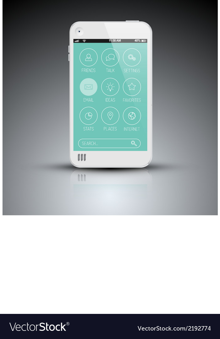 Modern mobile phone with flat user interface vector   Price: 1 Credit (USD $1)