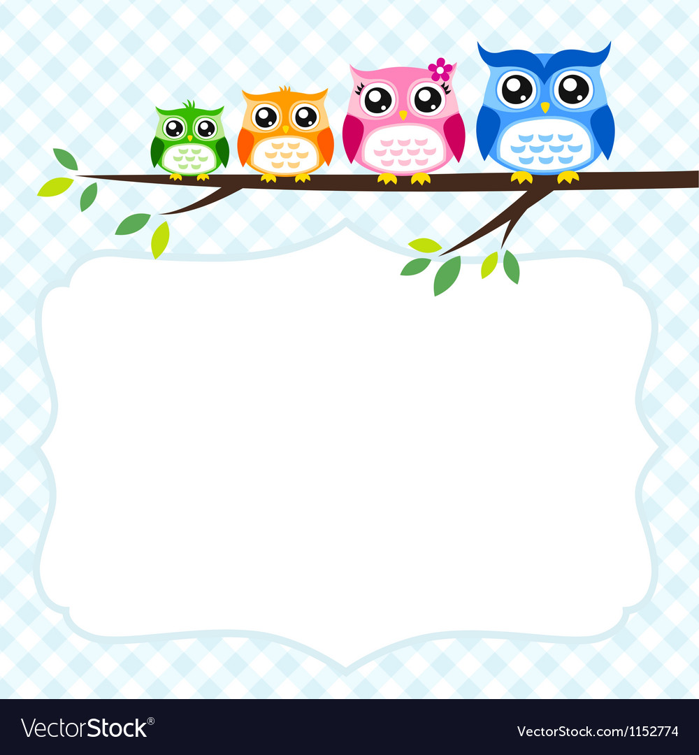 Owl family at tree spring vector | Price: 1 Credit (USD $1)