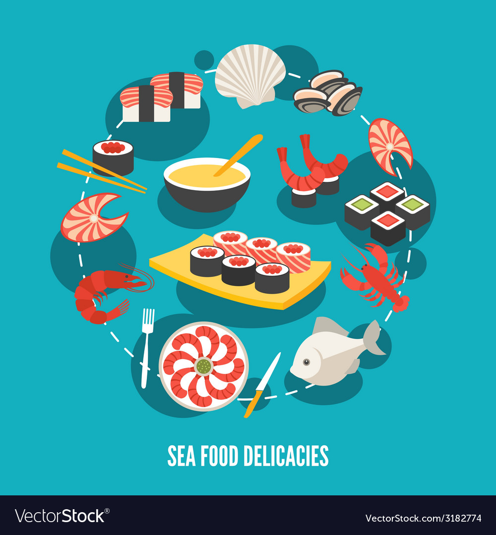 Sea food delicacies vector | Price: 1 Credit (USD $1)