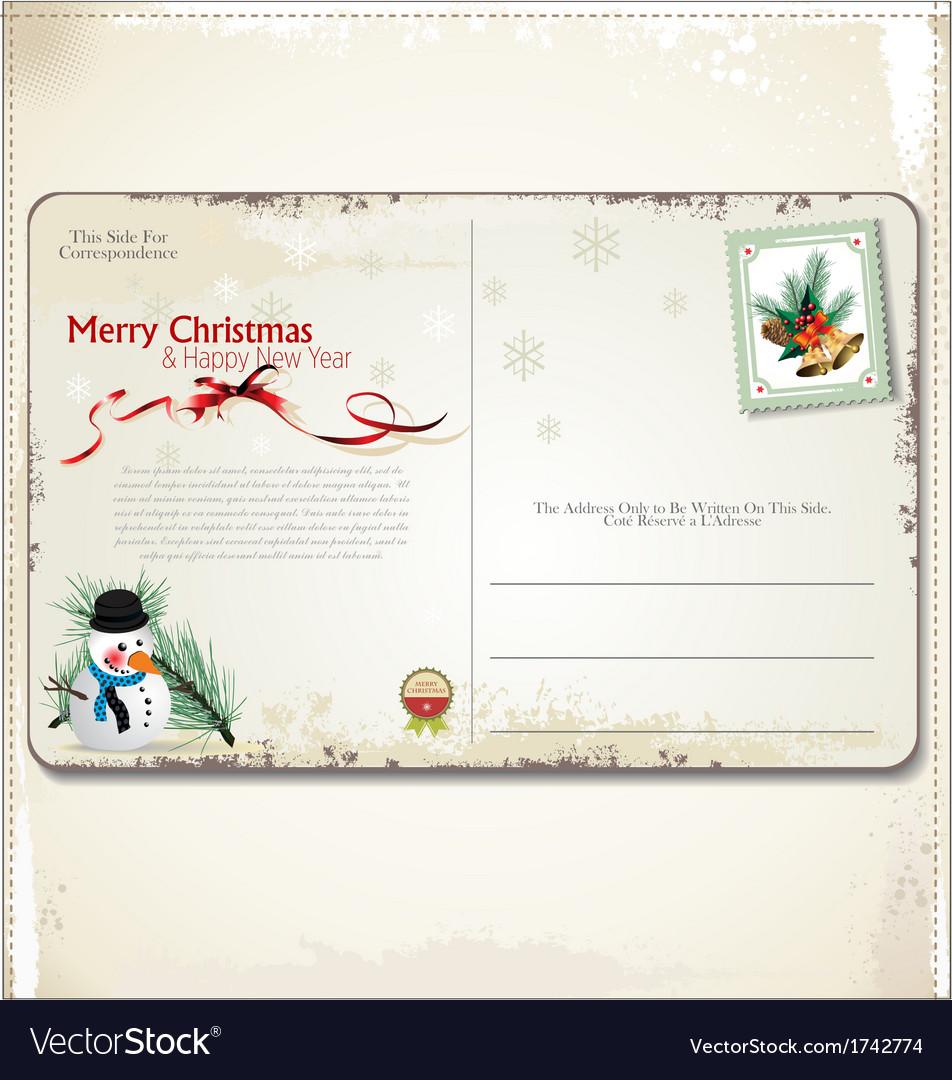 Vintage christmas postcard vector | Price: 1 Credit (USD $1)