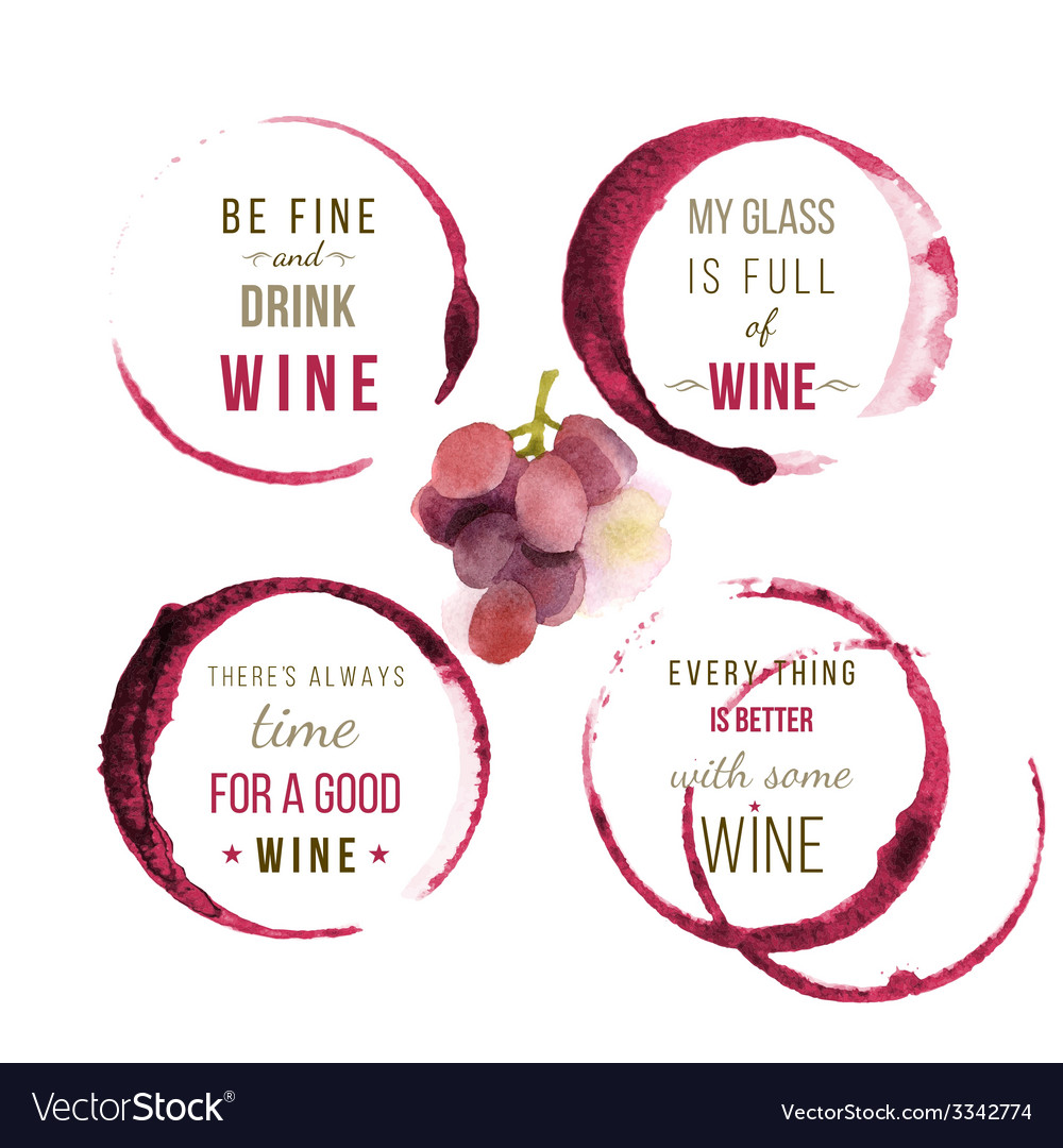 Watercolor wine type designs vector | Price: 1 Credit (USD $1)