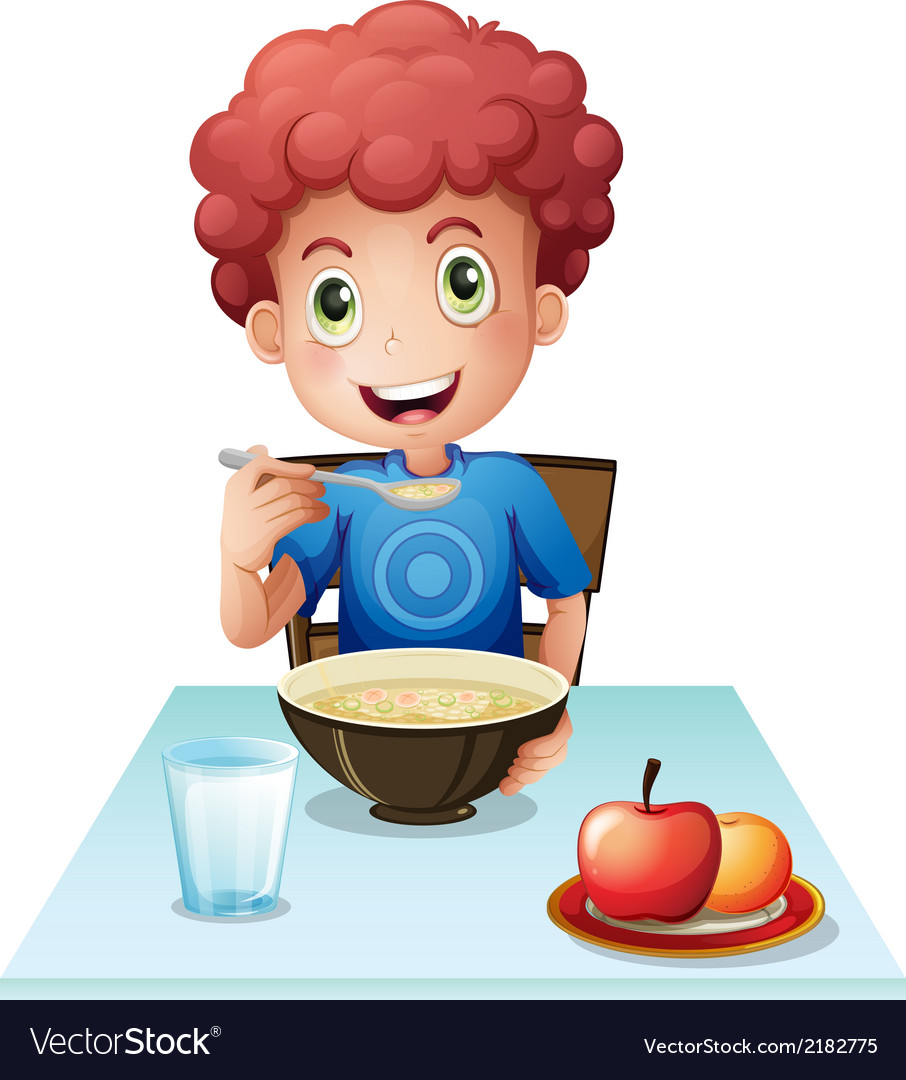 A curly boy eating his breakfast vector | Price: 1 Credit (USD $1)