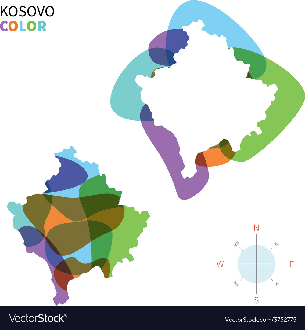 Abstract color map of kosovo vector | Price: 1 Credit (USD $1)