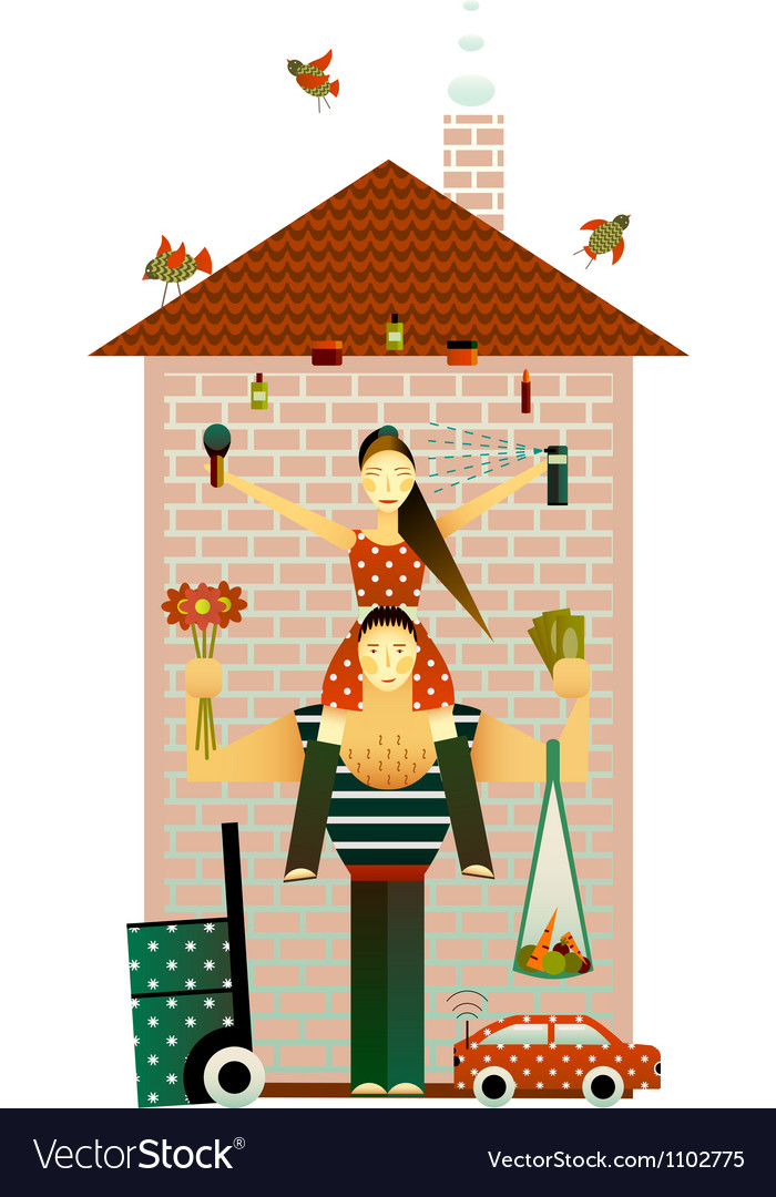 Family and the house vector | Price: 3 Credit (USD $3)