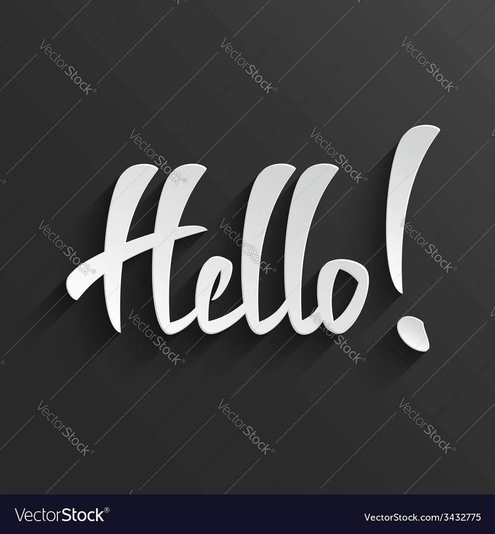 Hello lettering greeting card vector | Price: 1 Credit (USD $1)