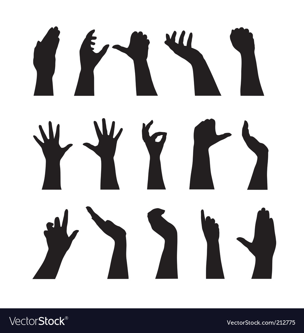 Human hands silhouettes vector | Price: 1 Credit (USD $1)