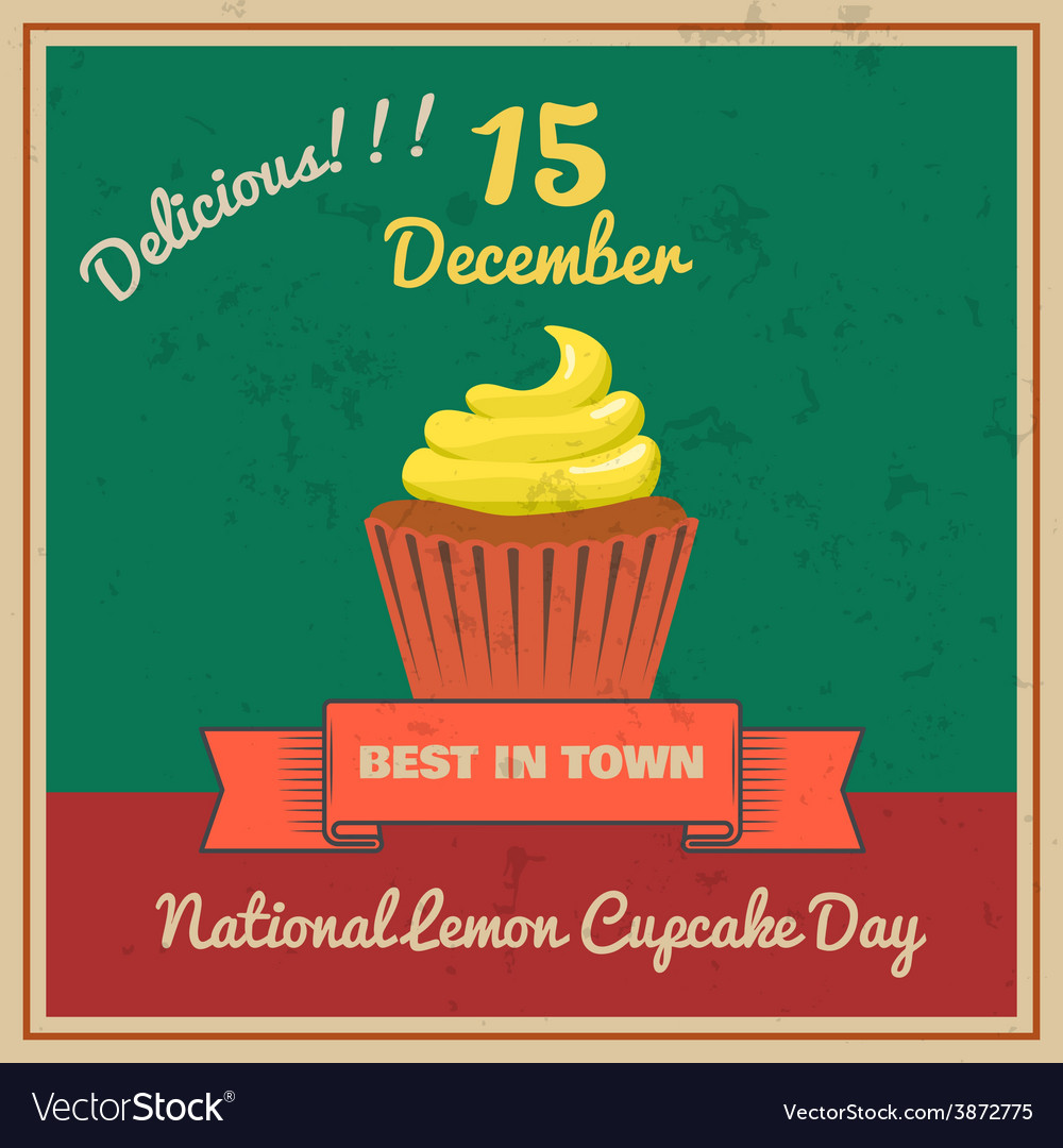 National lemon cupcake day retor poster vector | Price: 1 Credit (USD $1)