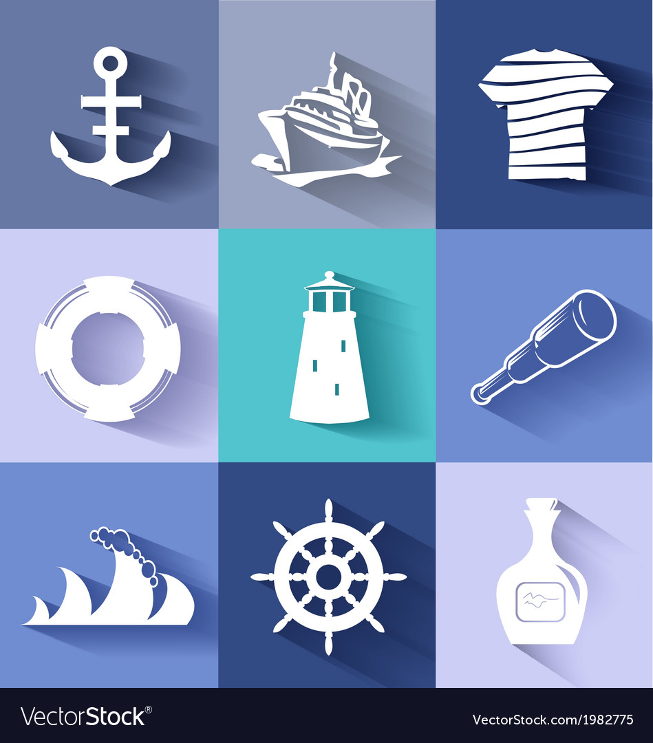 Sailor and ships flat icon set vector | Price: 1 Credit (USD $1)