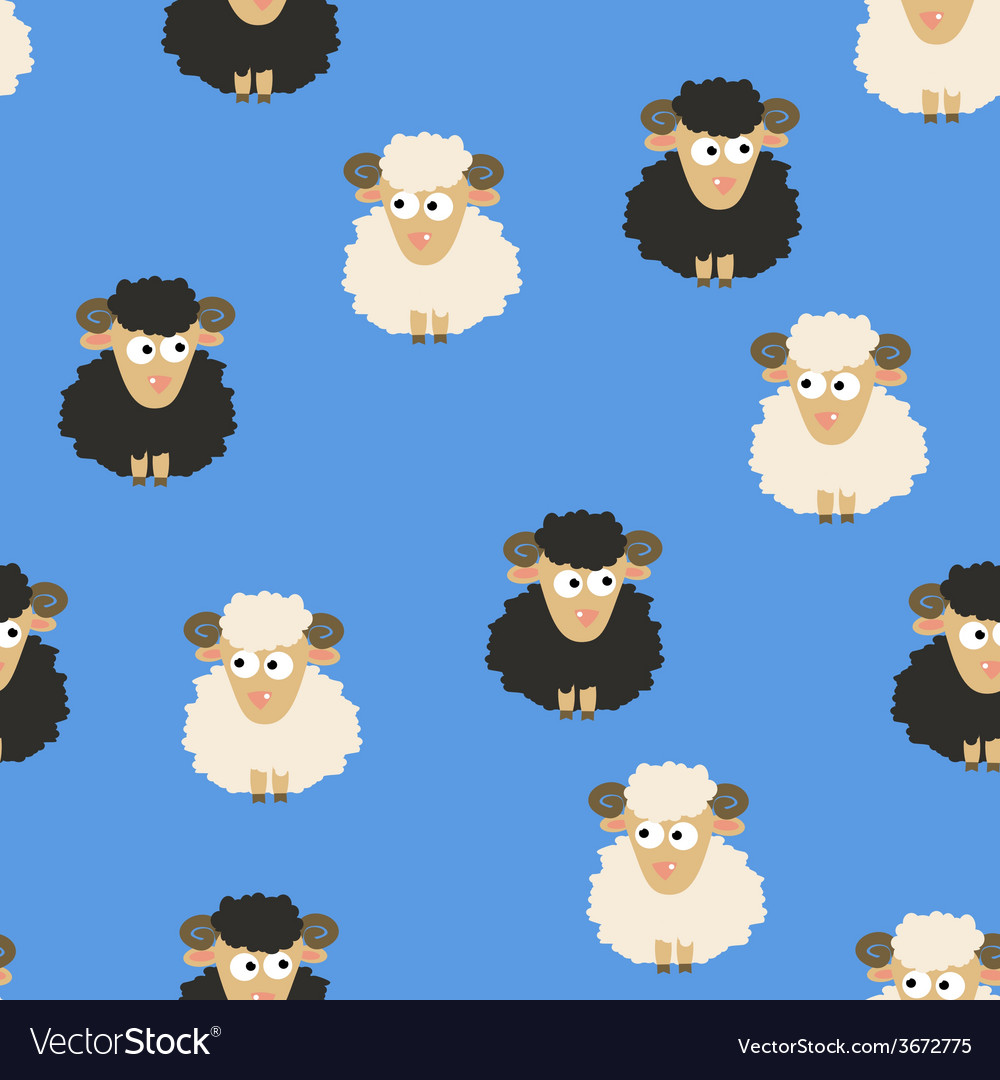 Seamless pattern with white and black sheep vector | Price: 1 Credit (USD $1)