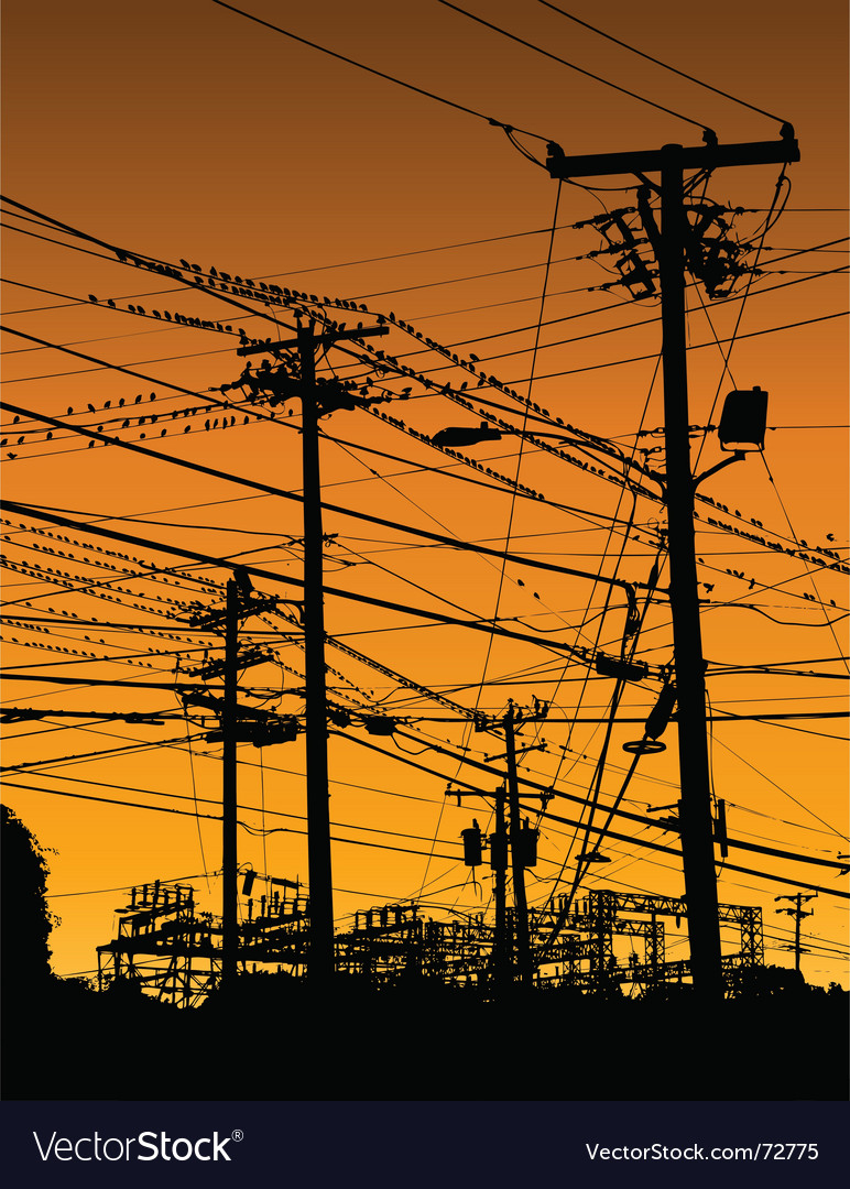 Telephone poles and wires vector | Price: 1 Credit (USD $1)