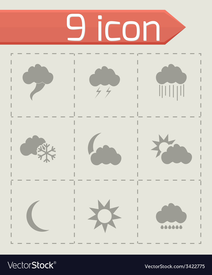 Weather icons set vector | Price: 1 Credit (USD $1)