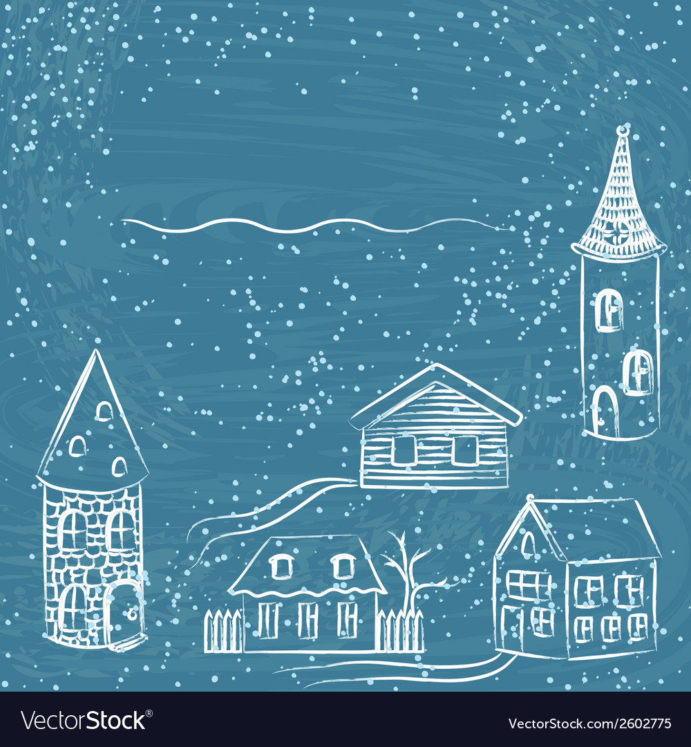 Winter card with doodle houses vector | Price: 1 Credit (USD $1)