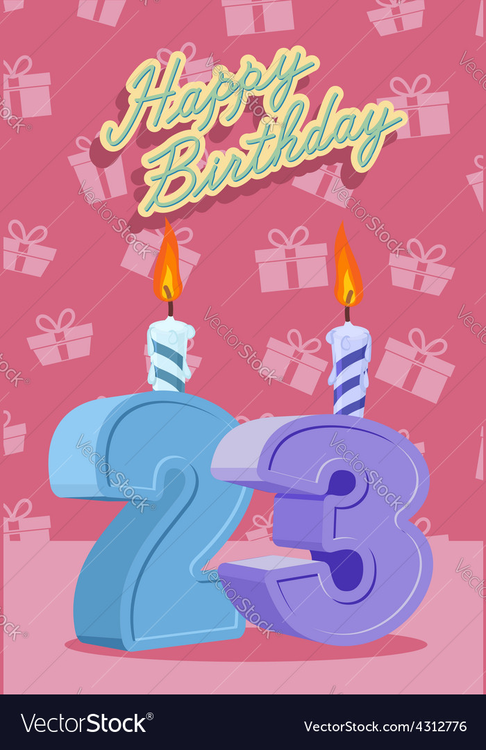 23 years celebration 23nd happy birthday vector | Price: 1 Credit (USD $1)
