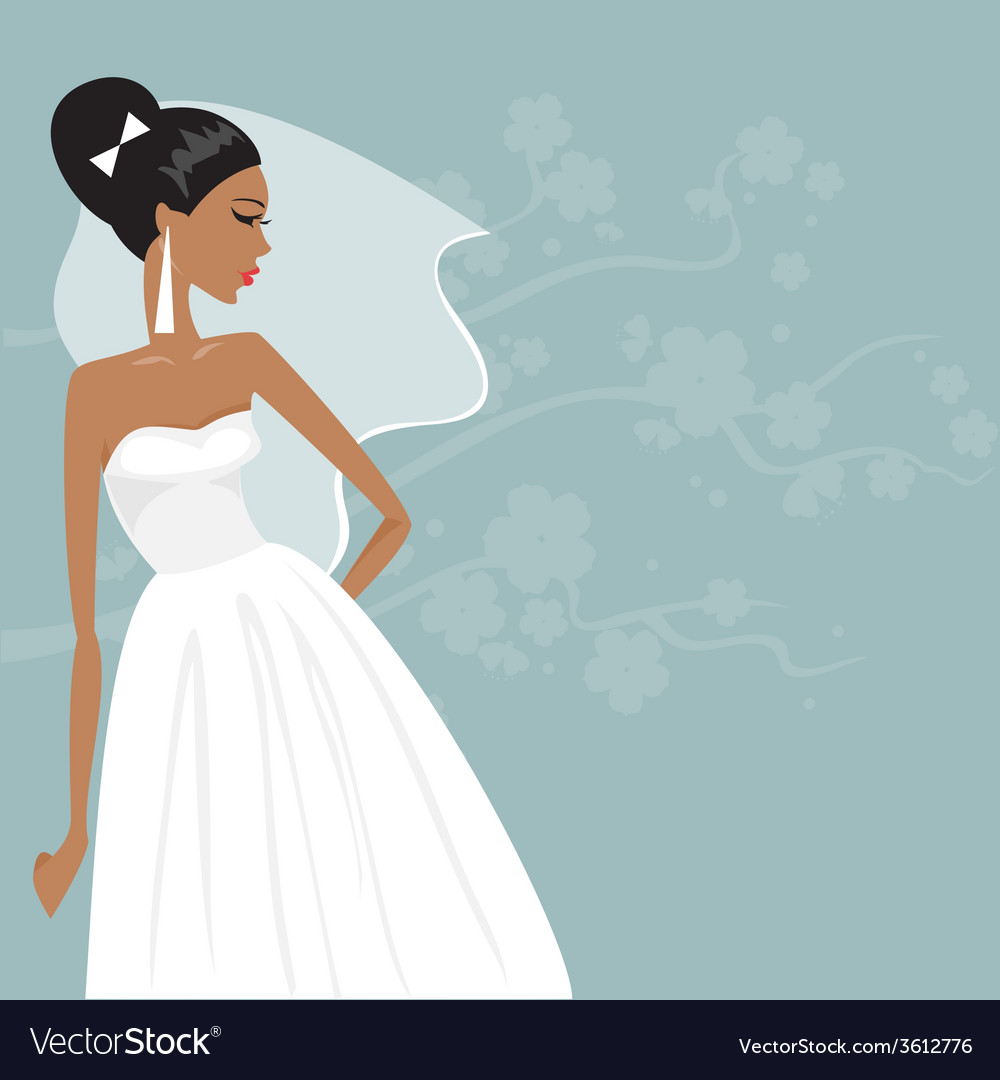 Beautiful bride in a wedding dress vector | Price: 1 Credit (USD $1)