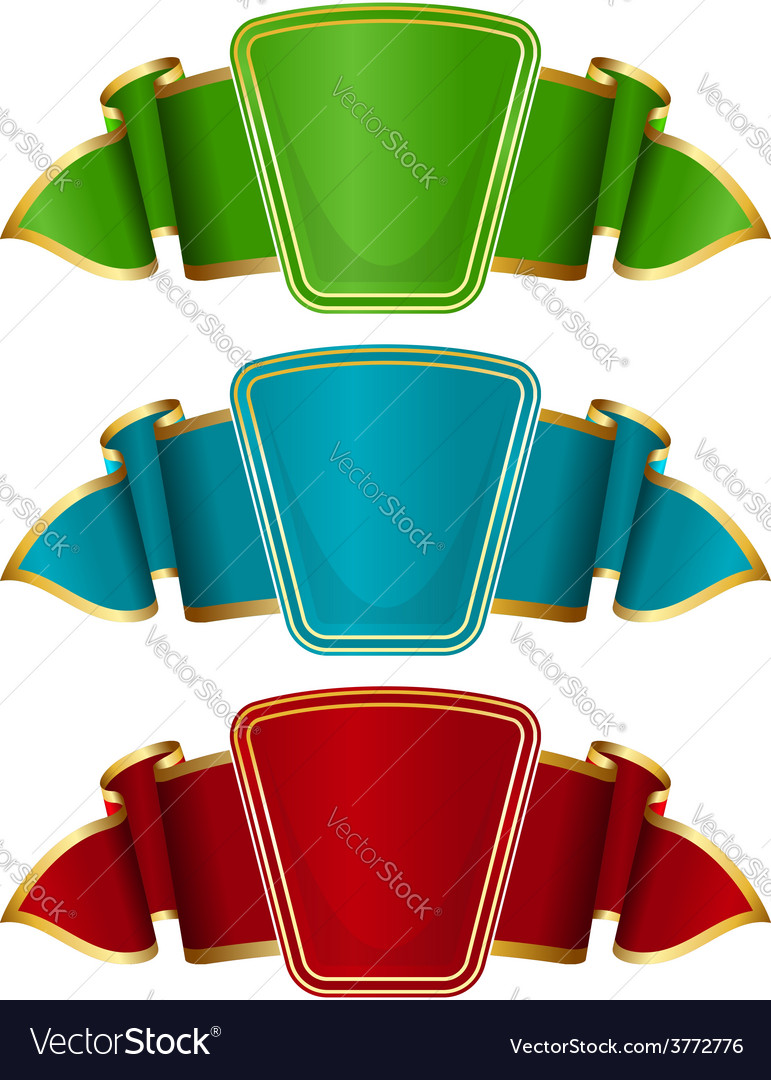 Collection frame with ribbon in 3 color vector | Price: 1 Credit (USD $1)