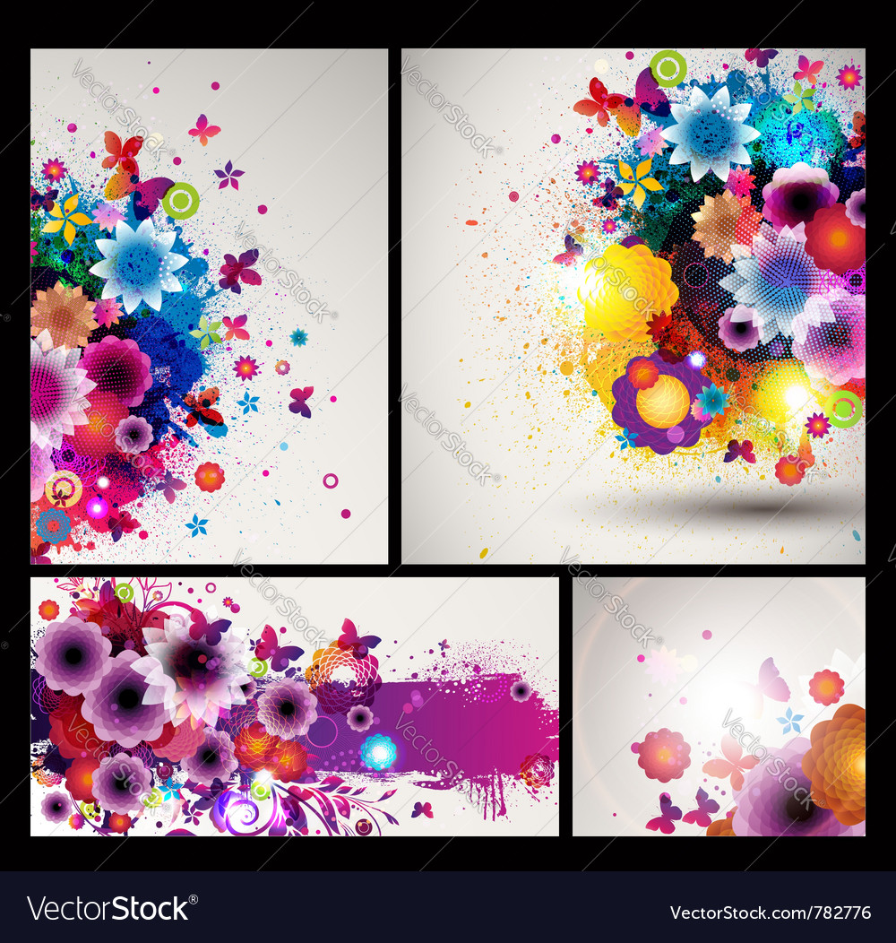 Grungy floral background set vector | Price: 3 Credit (USD $3)