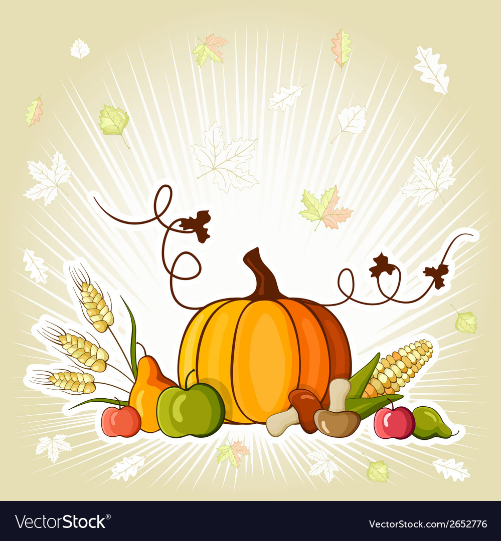 Happy thanksgiving day celebration flyer vector | Price: 1 Credit (USD $1)