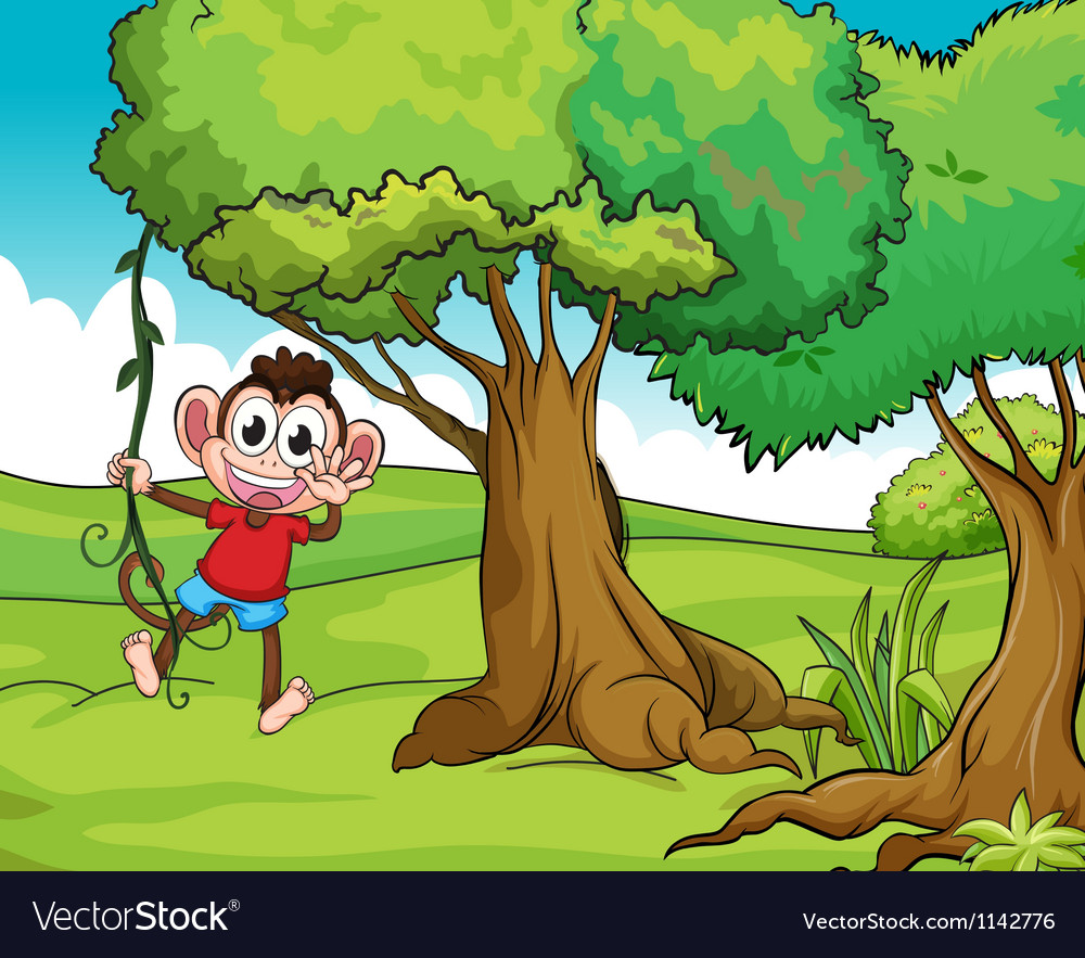 Monkey and trees vector | Price: 1 Credit (USD $1)