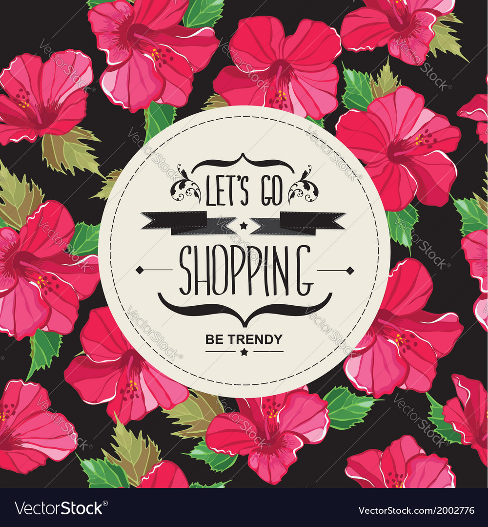 Poster lets go shoppingtypography vector | Price: 1 Credit (USD $1)